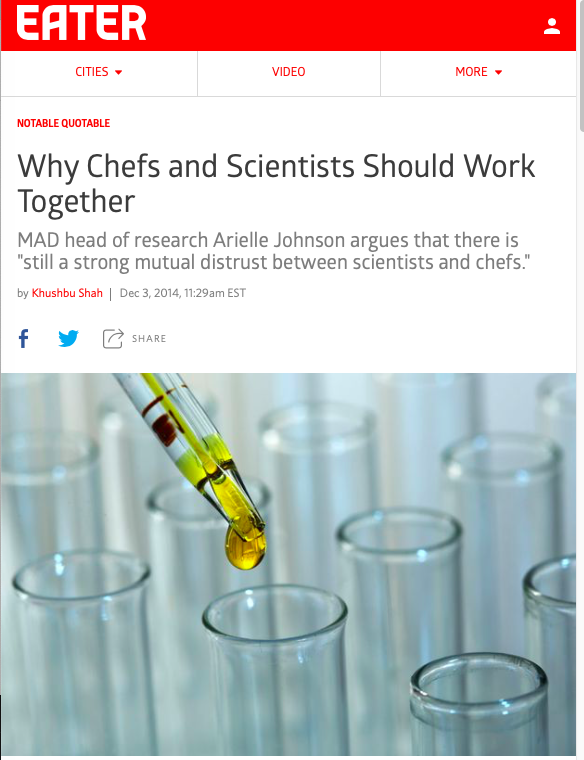 Khushbu Shah, eater.com: Why chefs and scientists should work together - read more