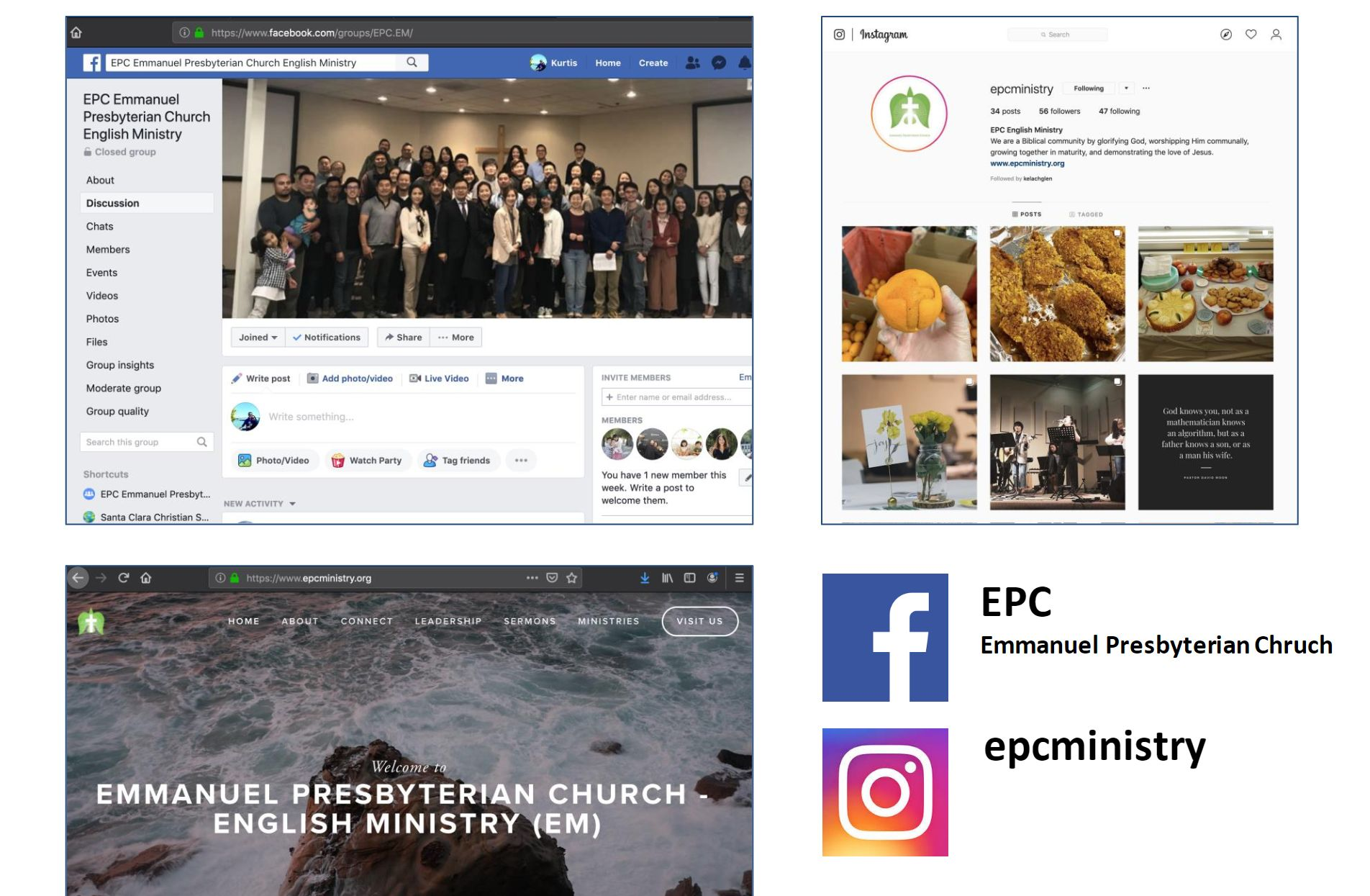 Follow us on social media! You can find the latest announcements and messages on our Facebook page at  https://www.facebook.com/groups/EPC.EM/  or Instagram at  https://www.instagram.com/epcministry/