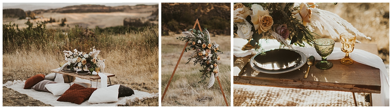 an intimate seating area for two in a desert, with a triangle arch for a wedding ceremony adorned with dried florals