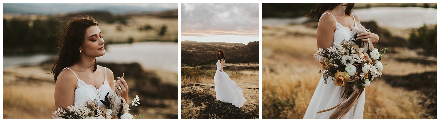 a beautiful brunette bride stands overlooking a lake while holding her boho bouquet