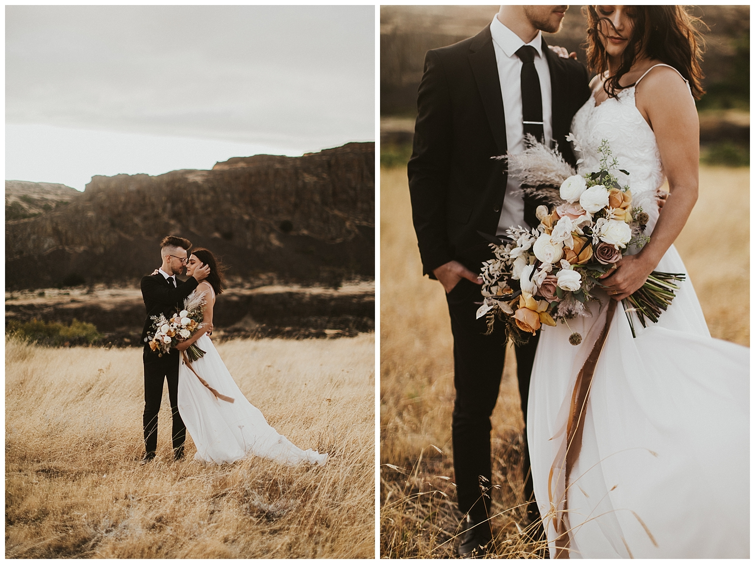 a bride and groom stand together in the desert, her dress and the ribbon on her bouquet blowing in the wind