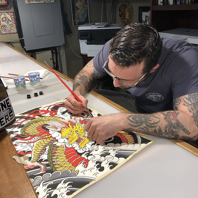 Enter the golden dragon. @dylandonohue_tattoos is taking walk ins this weekend! #japanesetattoo #japaneseart #boldwillhold #blacklinesmatter #boldwillhold #art #instaartist #sanantonio #sanantoniotattooartist