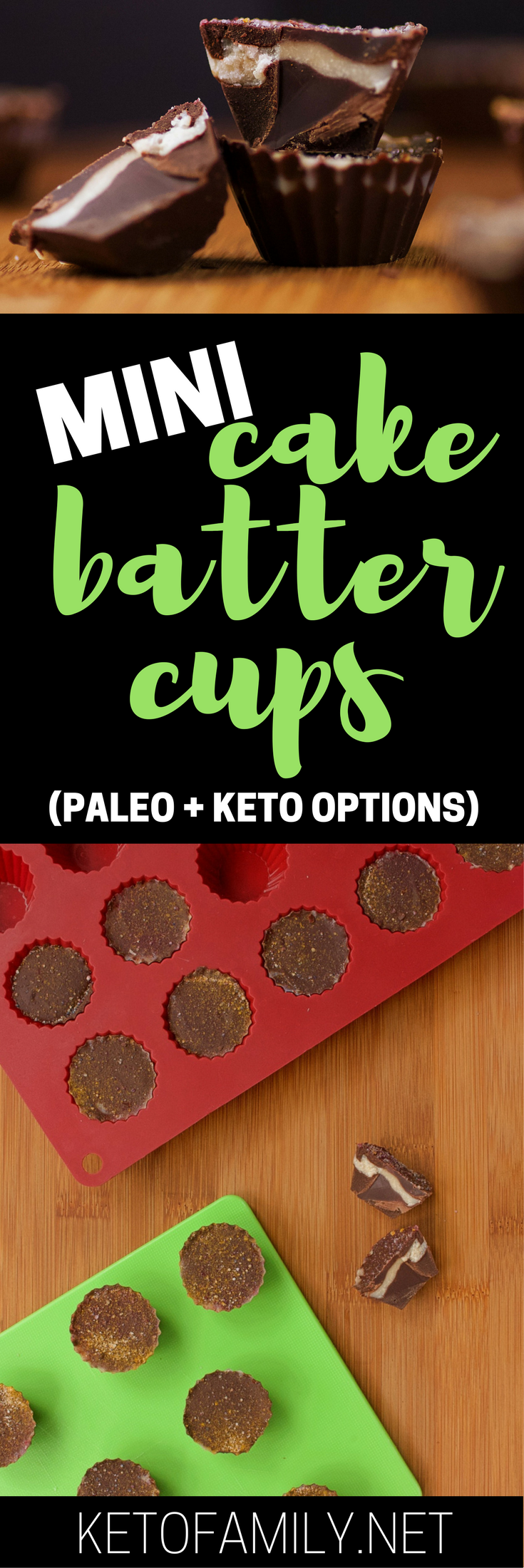 All the deliciousness of cake batter without the sugar--these Mini Cake Batter Cups pack smooth vanilla flavor into a chocolatey shell. (Keto and Paleo options available)