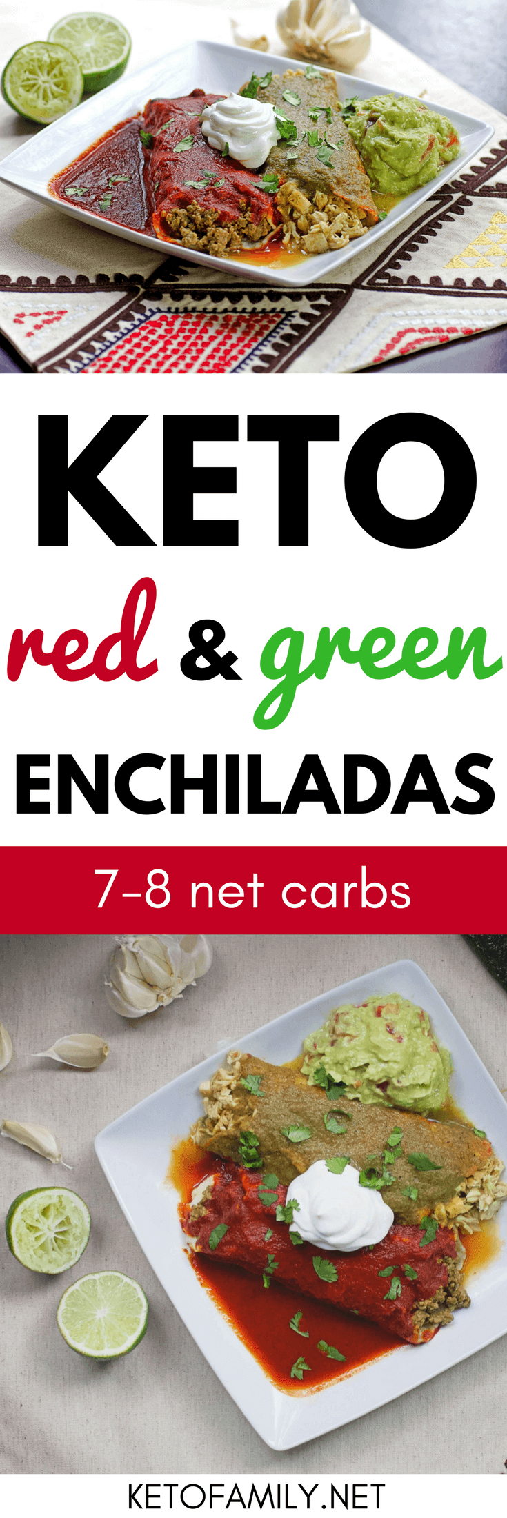 Craving the taste of homemade Mexican food without all the carbs? These keto red and green enchiladas are big on flavor (and family friendly) while fitting your macros.