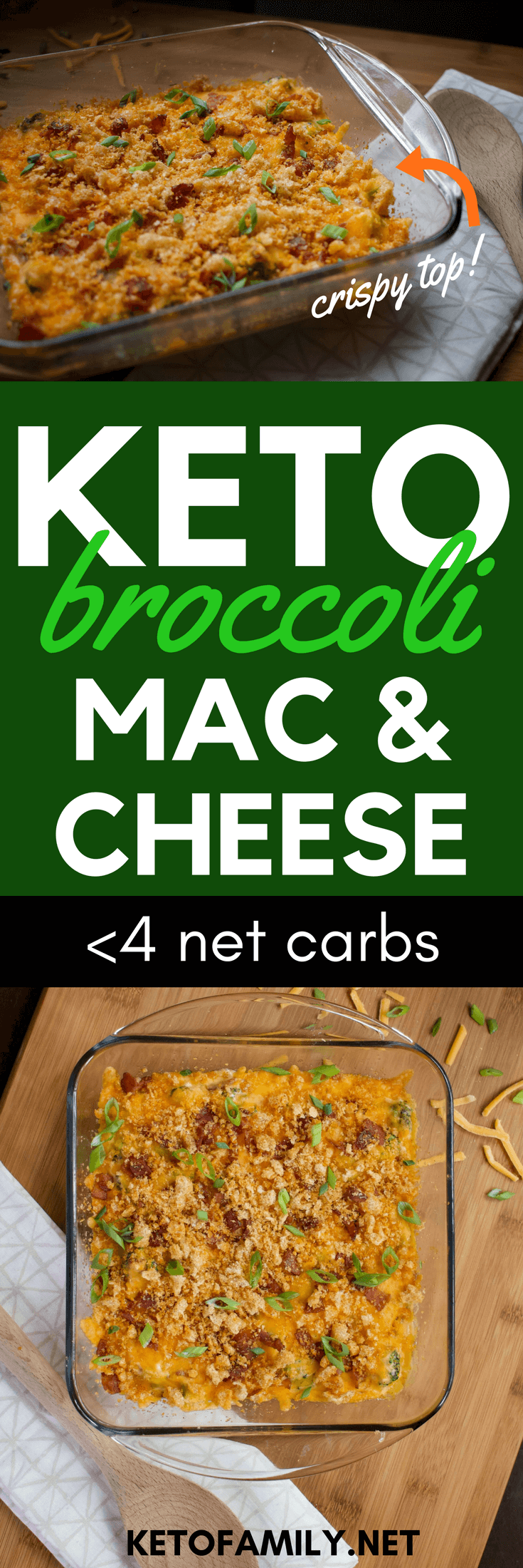 This Keto Broccoli Mac and Cheese With Bacon includes all the good parts of normal mac and cheese—including a silky sauce and a crispy top—without the carb overload!