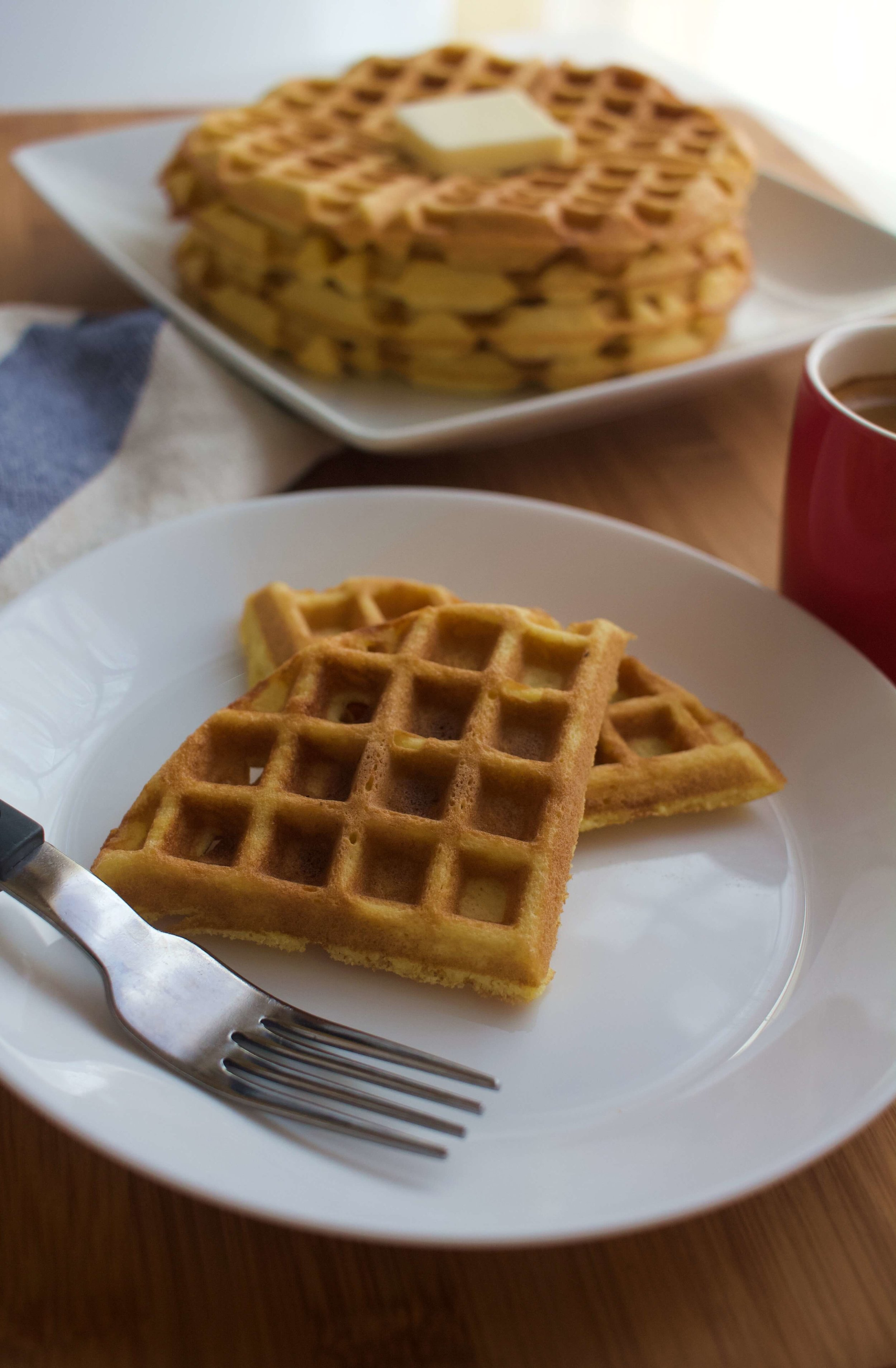 This recipe for keto coconut flour waffles takes a few simple ingredients and a quick buzz in your blender -- so breakfast is ready in a flash!