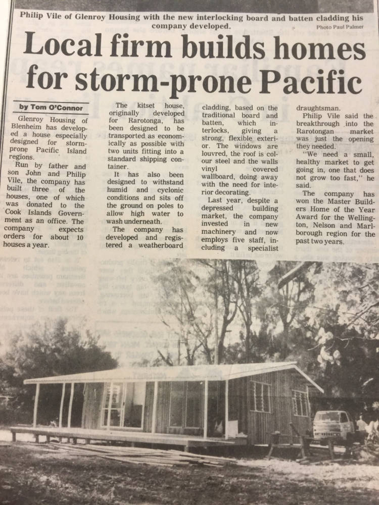 Transportable Prefabricated Houses for the Pacific - In 1993 after a cyclone in the Cook Islands Glenroy sent transportable houses to assist with the rebuild. Two houses were able to be fitted into a standard shipping container.The development of the Glenroy Batten Clad system ensured a strong and flexible exterior for a cyclone prone region.