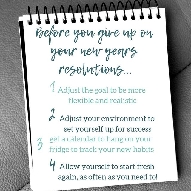 I just read that 80% of new year resolutions end by February, so I am going to swing in here to throw out some last minute tips to all of you struggling to keep yourself going with your big plans for 2019!  It is already more than two weeks into the new year, and there is nothing more discouraging than slipping up early in the game.  Before ALL else, the most important thing is to quickly FORGIVE and get back in the game.  Then there comes my tips: . . ➡️1. Look at your goals, now that you are two weeks in, and be honest with yourself - what about your goal is too unrealistic based on your schedule and resources, and is your goal too rigid?  What can you let go of here, how can you change this goal to be something more attainable?  For example, if your goal was to work out every day before work and it is just not happenin', can you change it to be working out before work 3 times a week?  If your goal was to work out at home and you have yet to stick to it, can you opt for a gym membership? . . ➡️2. Are you setting yourself up for success?  If you are trying to stick to a healthy diet, are you going to the supermarket enough and buying the healthy foods you need at home to stick to it?  If you are trying to meditate everyday, do you have a space set up at home inviting you to just sit down and start your practice anytime?  Ask yourself what you can add to your environment that will take away some barriers to making your resolution happen. . . ➡️3. Get a calendar.  Like a real calendar that you hang on your fridge, the paper kind that you write on, and get colored markers too.  I'm not kidding!  Track your success and your progress in a way that you have to look at it everyday.  Trust me, it works.  Your phone calendar will. not. cut it. . . ➡️4. Lastly, always give yourself room to start over.  Forgive, refresh, take a deep breath, and try again.  Taking a week off, or even 2 or 3 weeks off, is much better than stopping.  Pull yourself up and go, it doesn't have to a