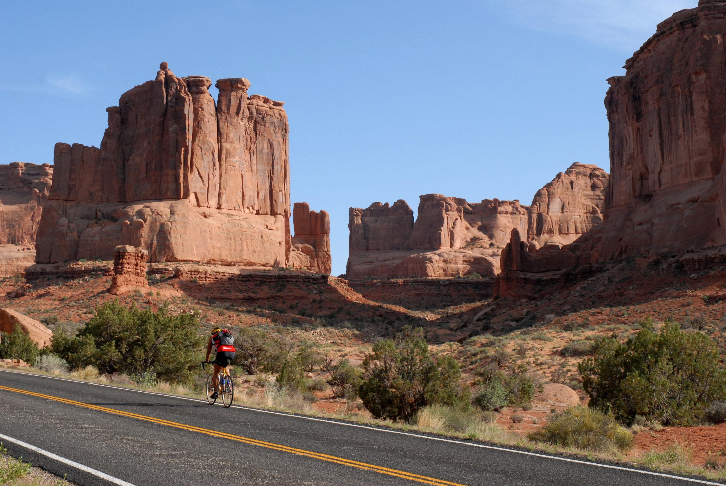 Biking at Arches National Park
