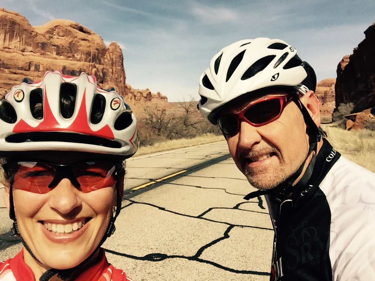 Renee is pictured with her husband David at a recent Skinny Tire Festival!