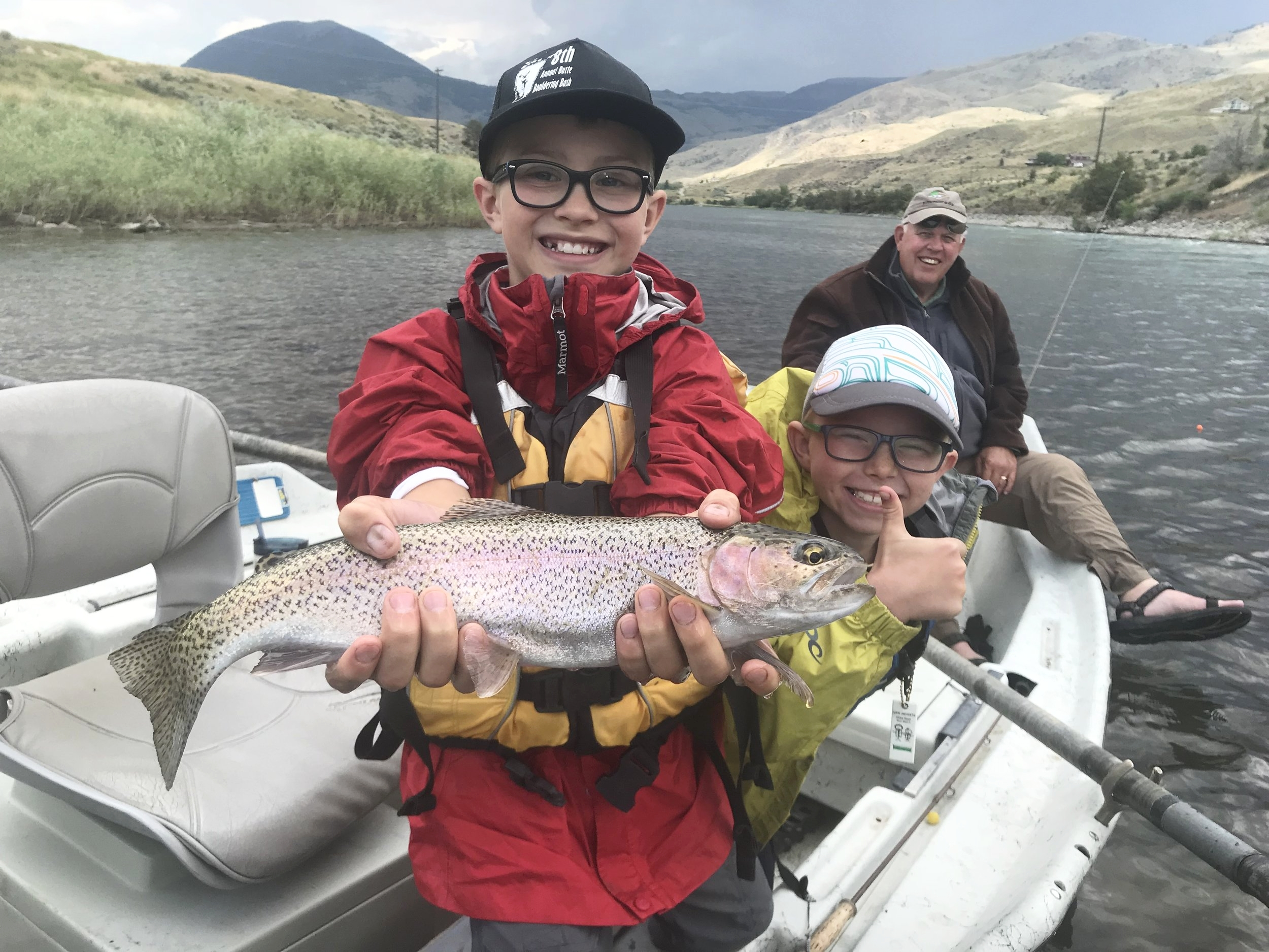 7/17/2018- Love the brotherly love. Miles with support from K-man landed this specimen on the Yellowstone River.