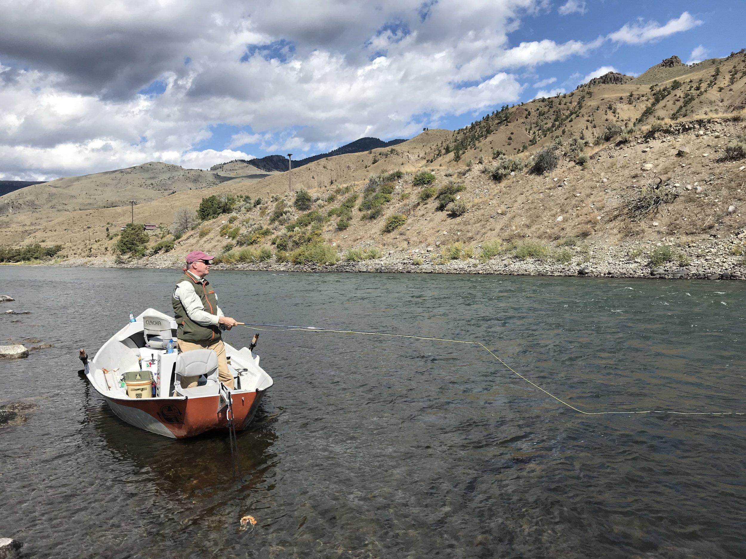 Fishing a good run on the Yellowstone River