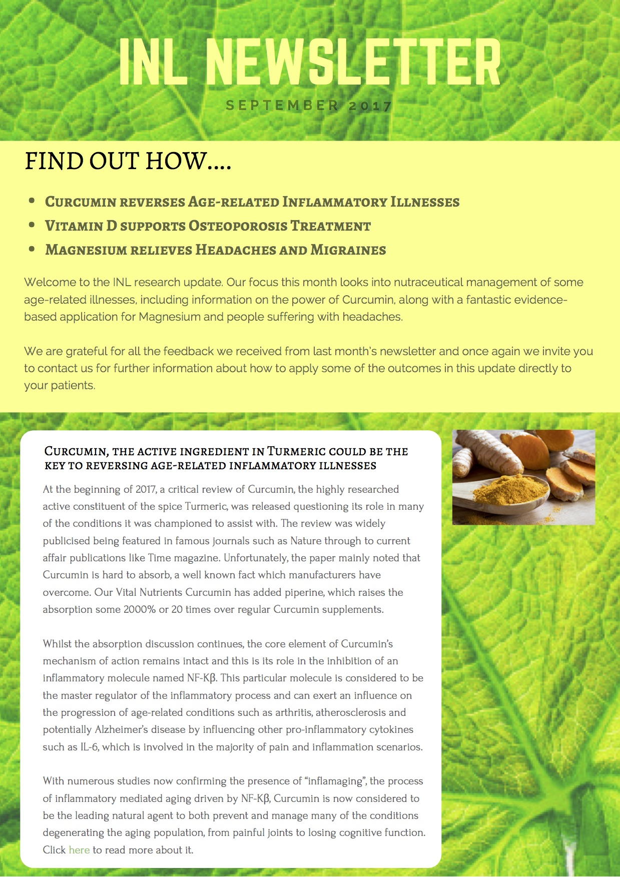 Click below to download:  INL Newsletter (Sep 2017) Curcumin, Vitamin D & Magnesium
