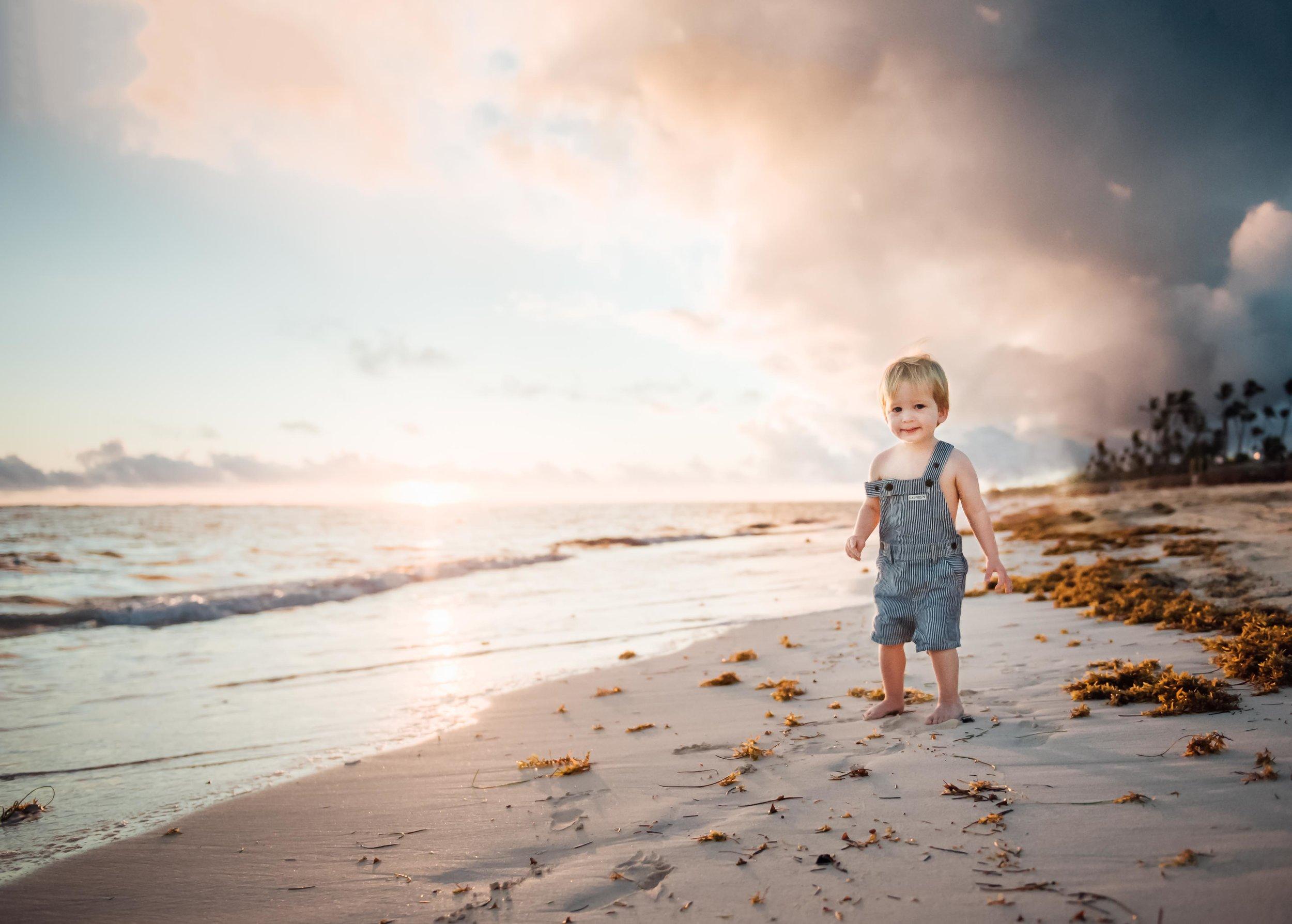 baby walking on beach at sunset - Niagara baby photographer