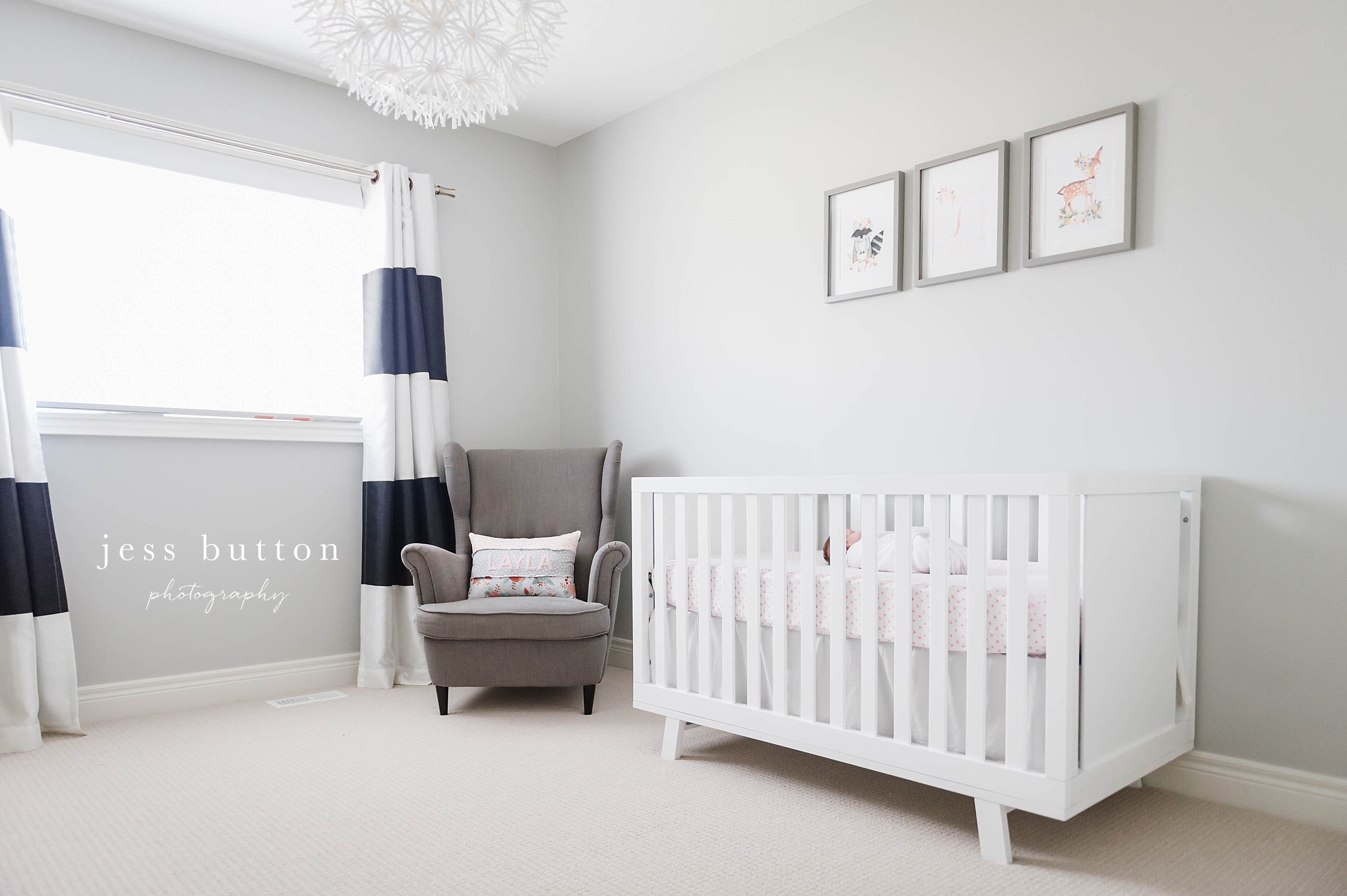 neutral nursery with blue and pink accents - Fonthill - Niagara Newborn Photography