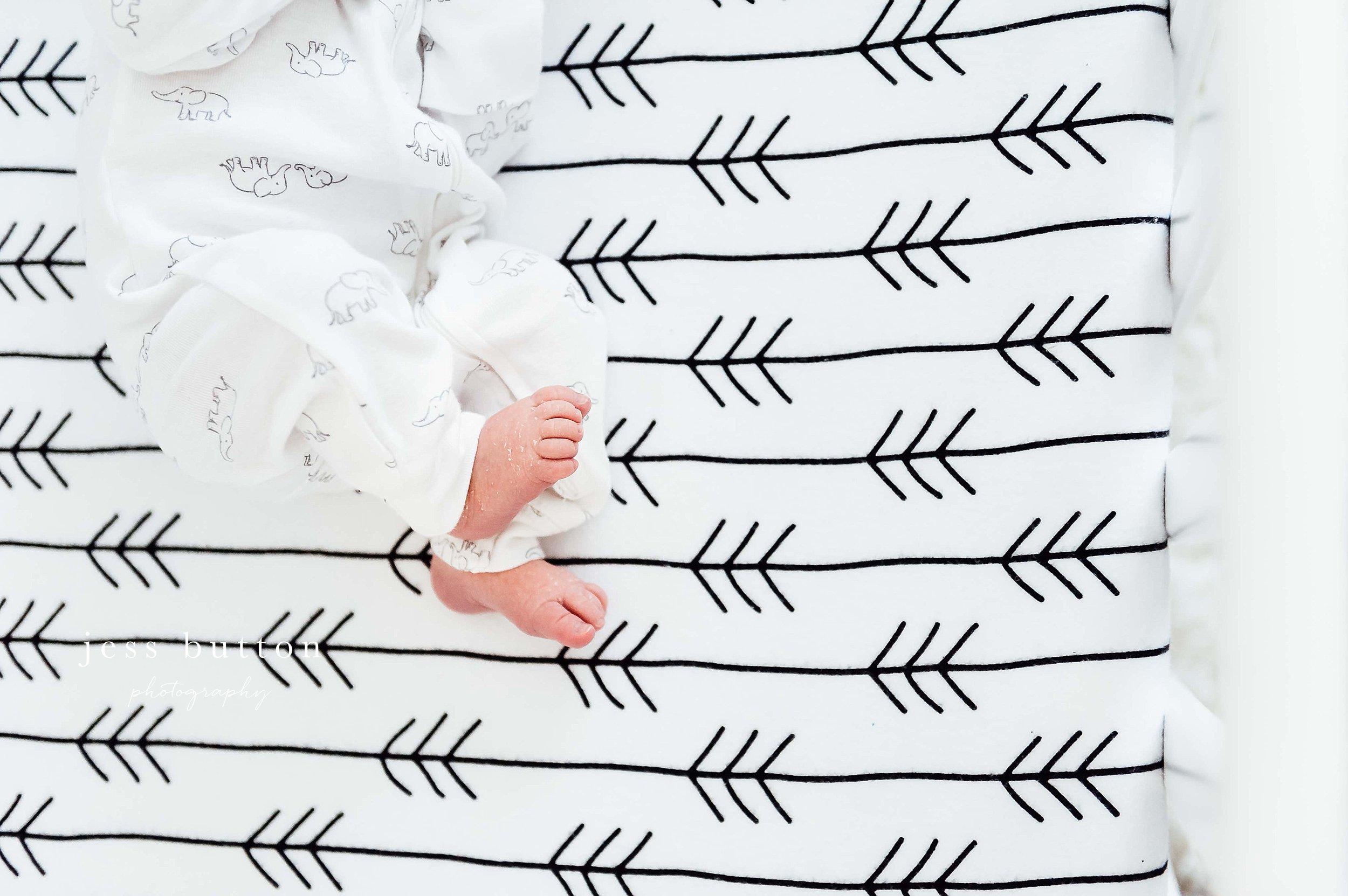 baby toes in crib - Niagara newborn photographer
