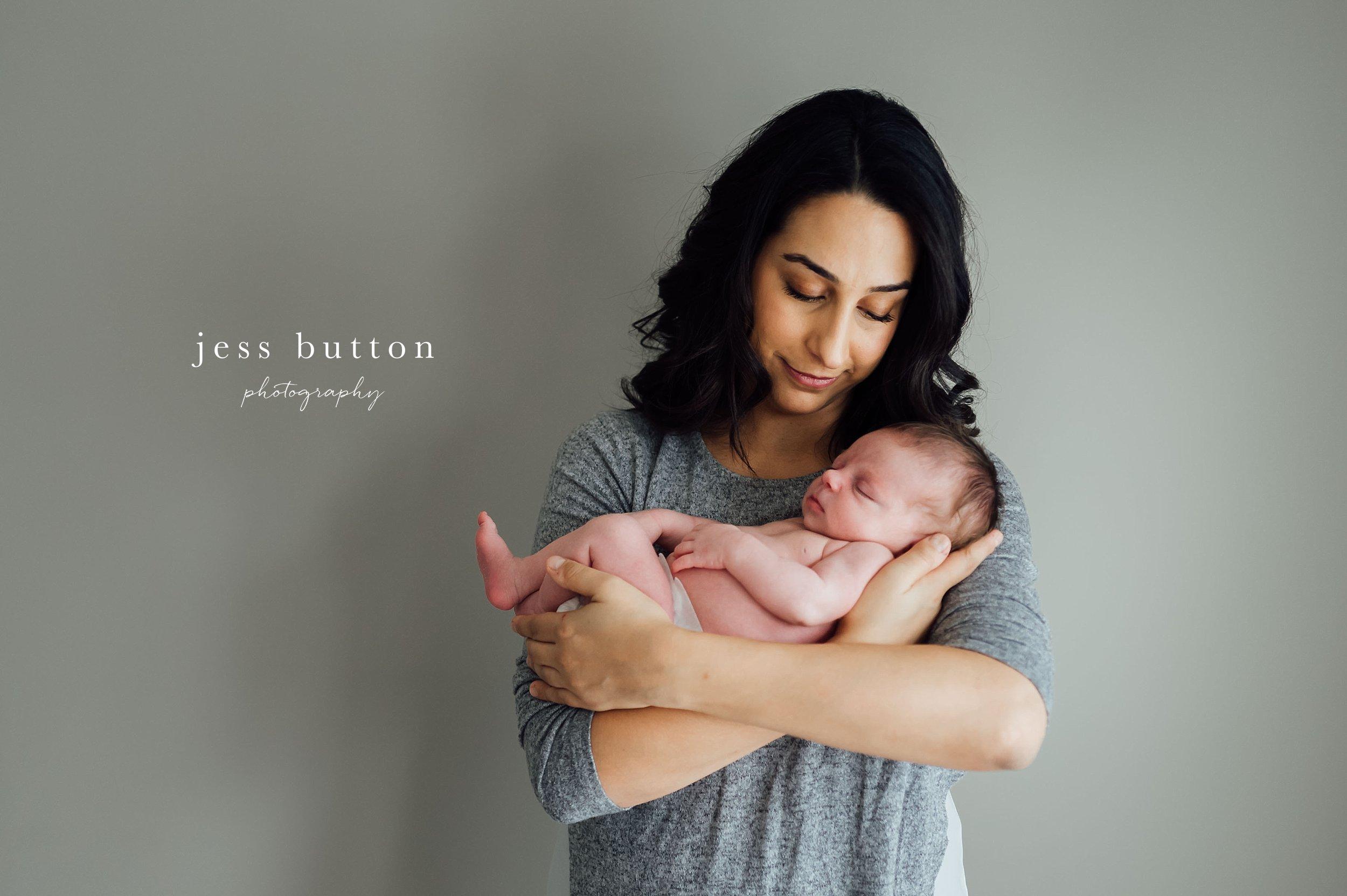 new mom with newborn baby - studio lifestyle   8 day old baby girl   Niagara Falls Newborn Photographer