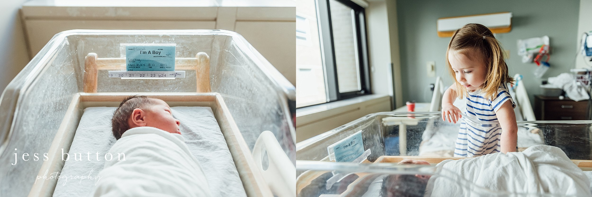 baby boy with new sister in hospital bassinet during fresh 48 newborn session in St Catharines