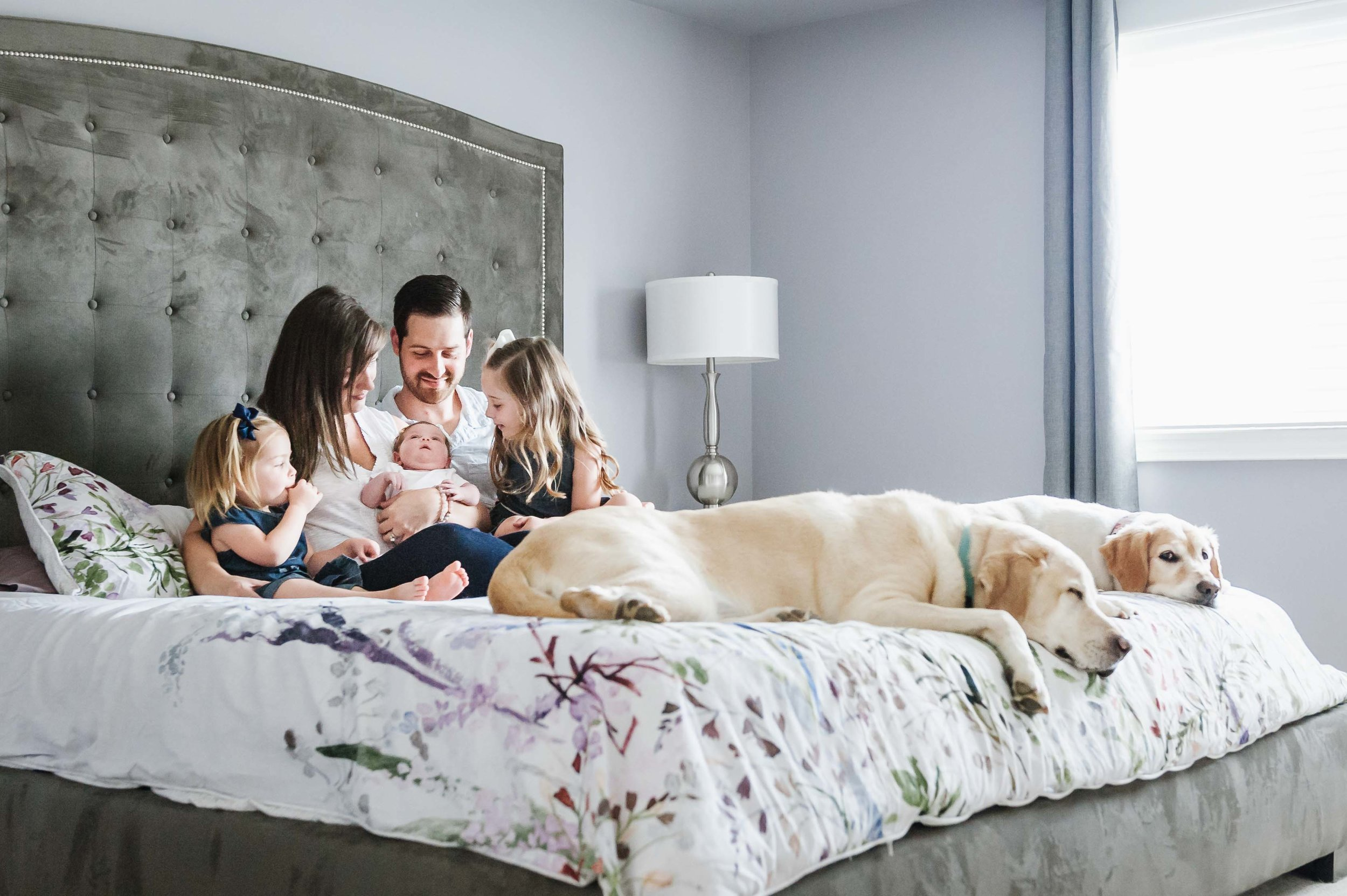 Family with new baby girl and dogs sitting on bed in Fonhill, Niagara home