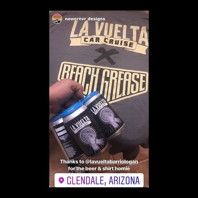 It was my pleasure homie @nowornvr_designs ... surprised to see the beer not gone yet 😉 provecho and Salud 🍻... tag us if you got yours already ... 👍🏽 #hopperlager #lavueltabarriologan #beachgreasebeerco #lowriderlifestyle #sandiego #california #glendale #arizona