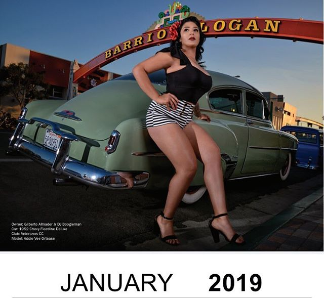 Kicking off the New Year right with Miss La Vuelta January 2019 @lovely50s posted under the Barrio Logan Arch next to @mr.heavysdx1904_aka_boogieman, 1952 Chevy Fleetline Deluxe ... still have a few calendars available on our online store ... get yours before there gone and help support our annual festival... 📸: @wbirdimaging ... #lavueltabarriologan #JAN2019 #misslavuelta #barriologan #sandiego #pinups #bombitas #bombs #lowriderlifestyle #lowriders #customs #models