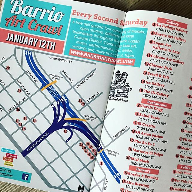 🎉You've been asking for it and finally here it is!! We are super excited to announce our January 2019 Barrio Art Crawl Map. Available only inside @laneta92113 Magazine. You can now pick up your copy at any of these locations: Barrio Dogg, Cafe Moto, Lucky's Market, Por Vida, Salud, La Sirena Nail & Beauty Bar, La Bodega Gallery, 2195 Collective, ArtHub, Border X Brewing, Mishmash, Ryan Bros. Coffee. Also viewable online👍🏾 See you guys on Saturday in the Barrio! - - #barriologan #loganheights #619 #art #artcommunity #artsdistrict #artshow #barriologanculturaldistrict #sdartist #barrioartcrawl #sandiego #laneta92113