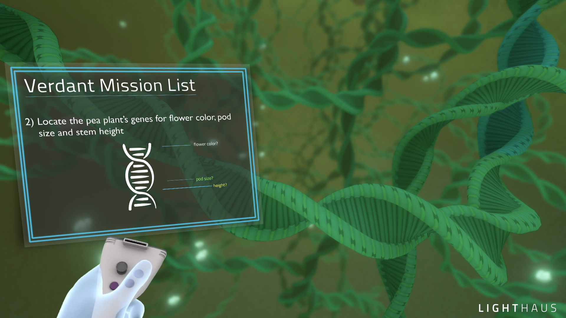 The view from inside the nucleus: A student has entered the pea plants nucleus and is exploring the plant's genome, looking for the locations of the seven traits. The student will perform some genetic substitutions that can offer clues to the relationship between the DNA and the plant's phenotype.