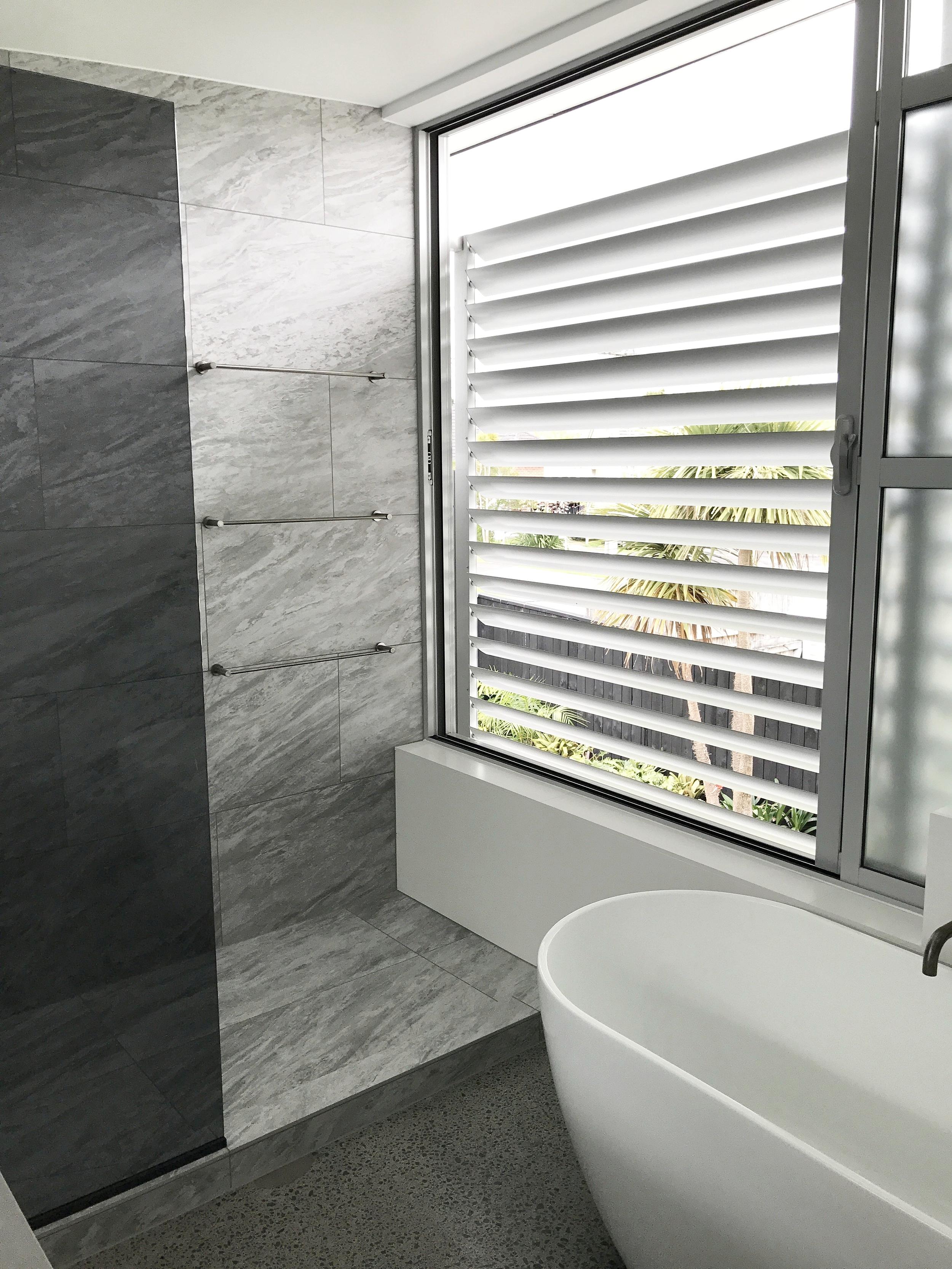 Bathroom with a monochrome design