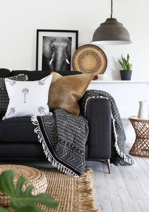Summer Scheme : Light woven throw, Short fur and linen print cushions and a beautifully textured jute woven rug.
