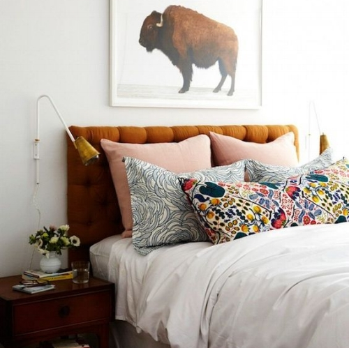 The Pattern : This bedroom showcases a great example of how to mix pattern and bright colours together, even though they are completely different, they work!