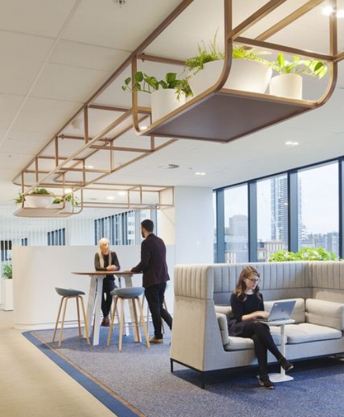 Stylish designed workplace incorporating comfort and nature