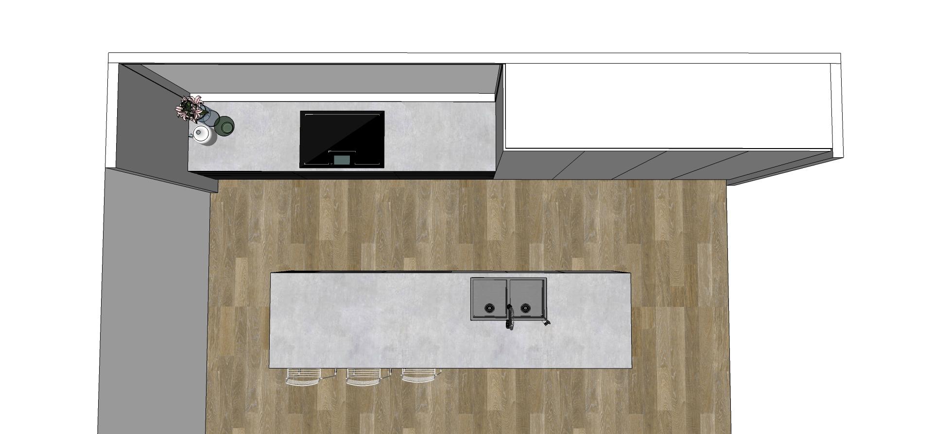 Bird eye view of kitchen