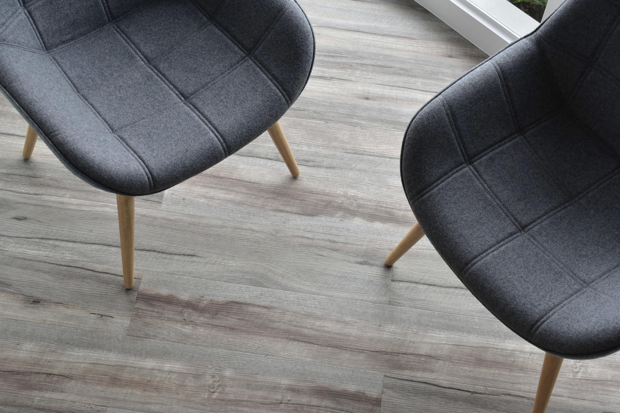 Soft seating and new wood plank viynl floor.