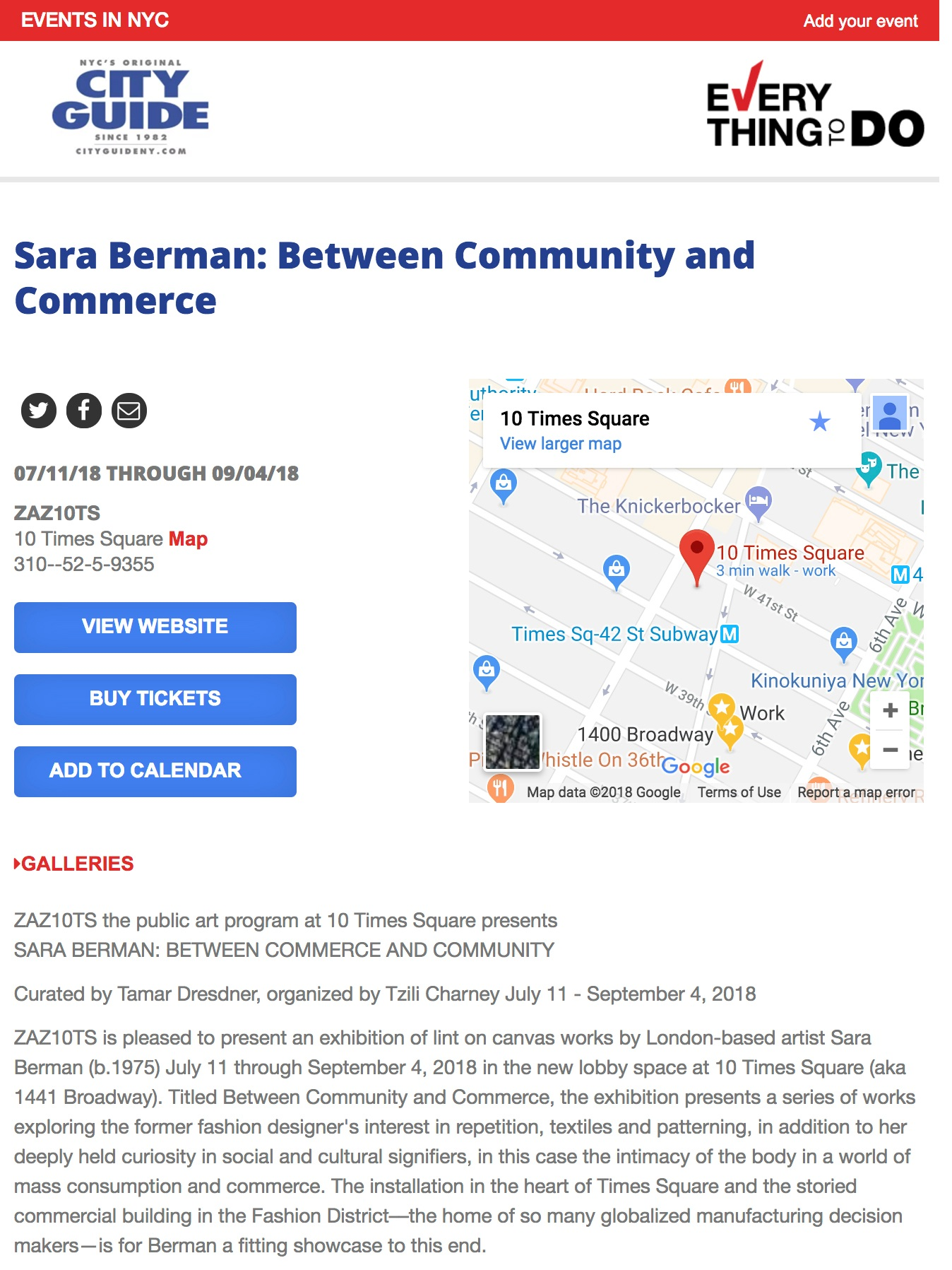 CITY GUIDE  Sara Berman: Between Community and Commerce (July 11, 2018)
