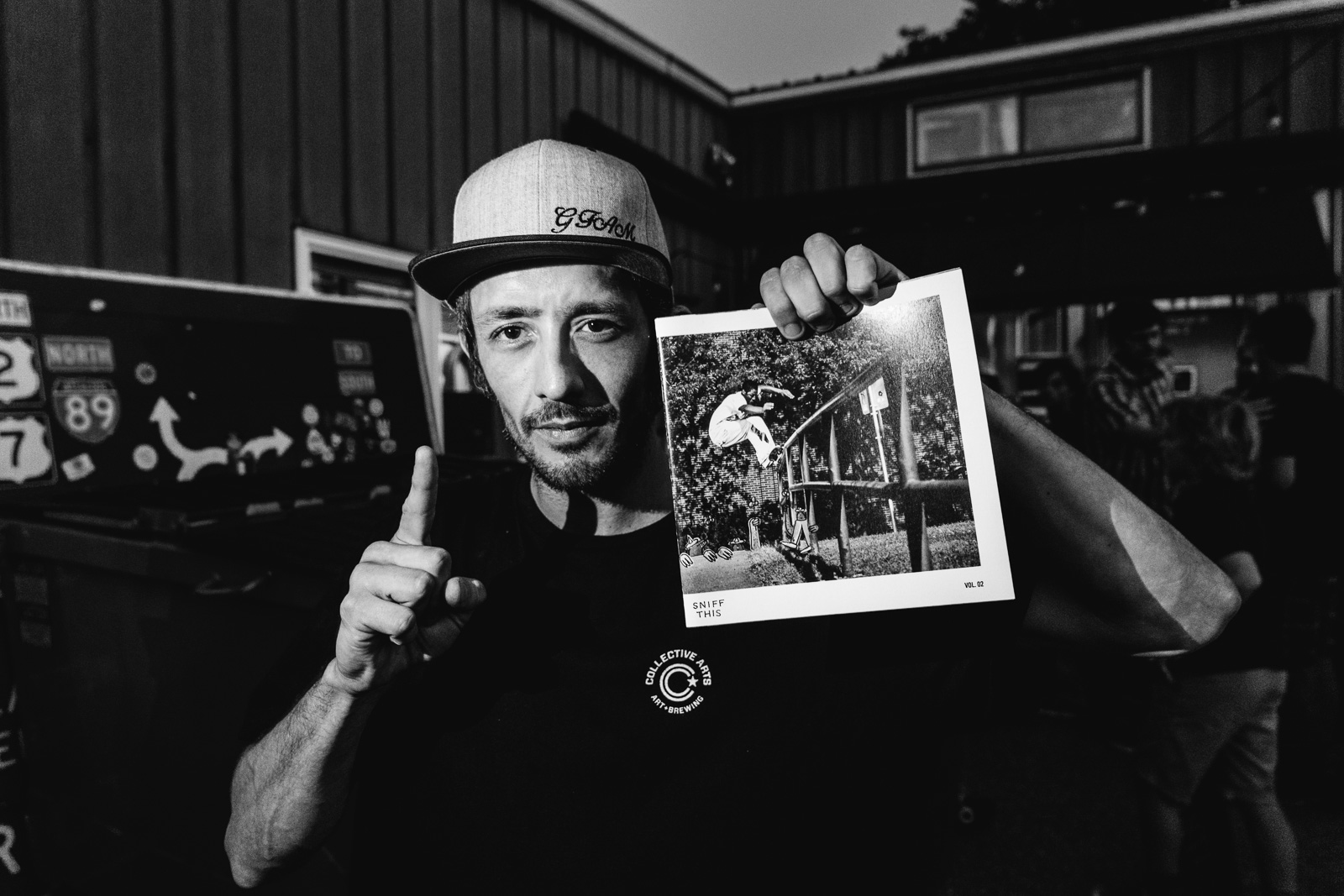 "Local legend Travis Card repping the local zine, ""SNIFF THIS"". Photo: @DeanBlottoGray"