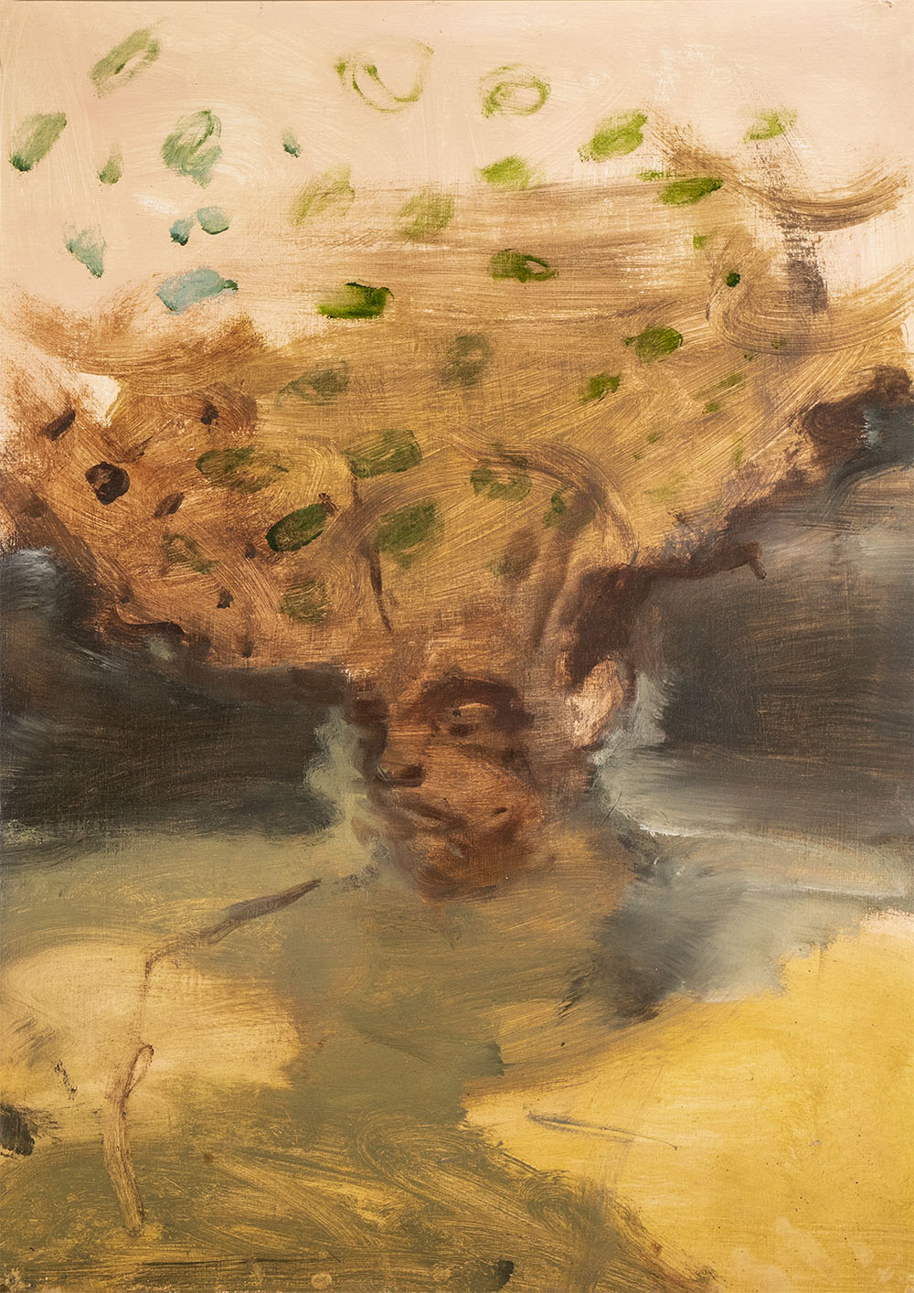 Nicholas Ives 'Sliding Worlds 4', 2018 .  420 x 594mm. Acrylic and oil on paper.