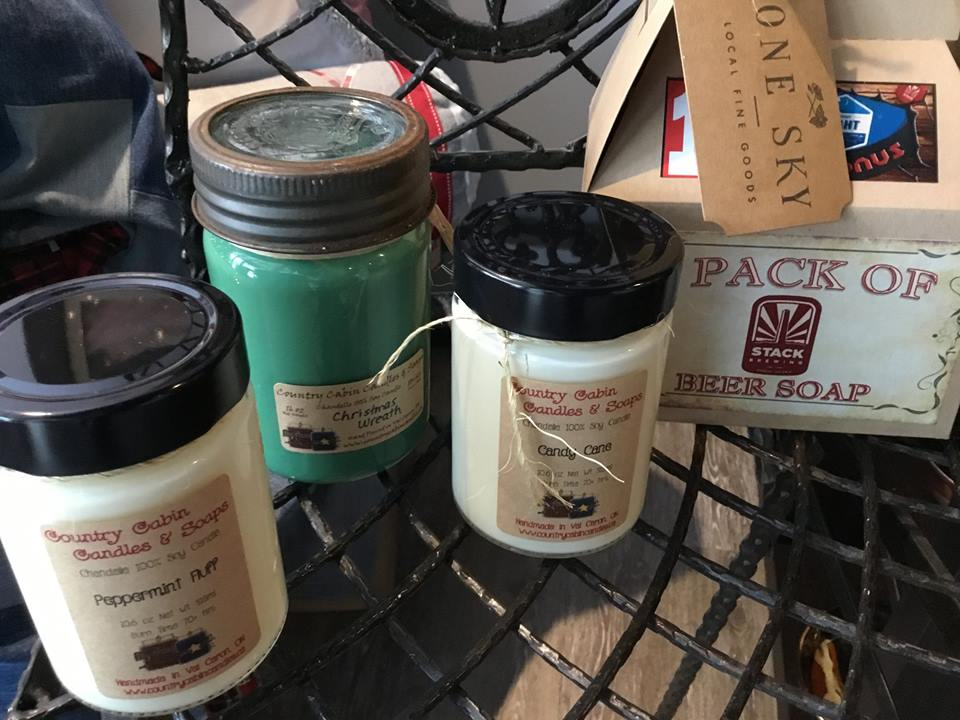 Soy candles from Country Cabin Candles, Soap made with Stack Beer from Old Soul Soap Company!