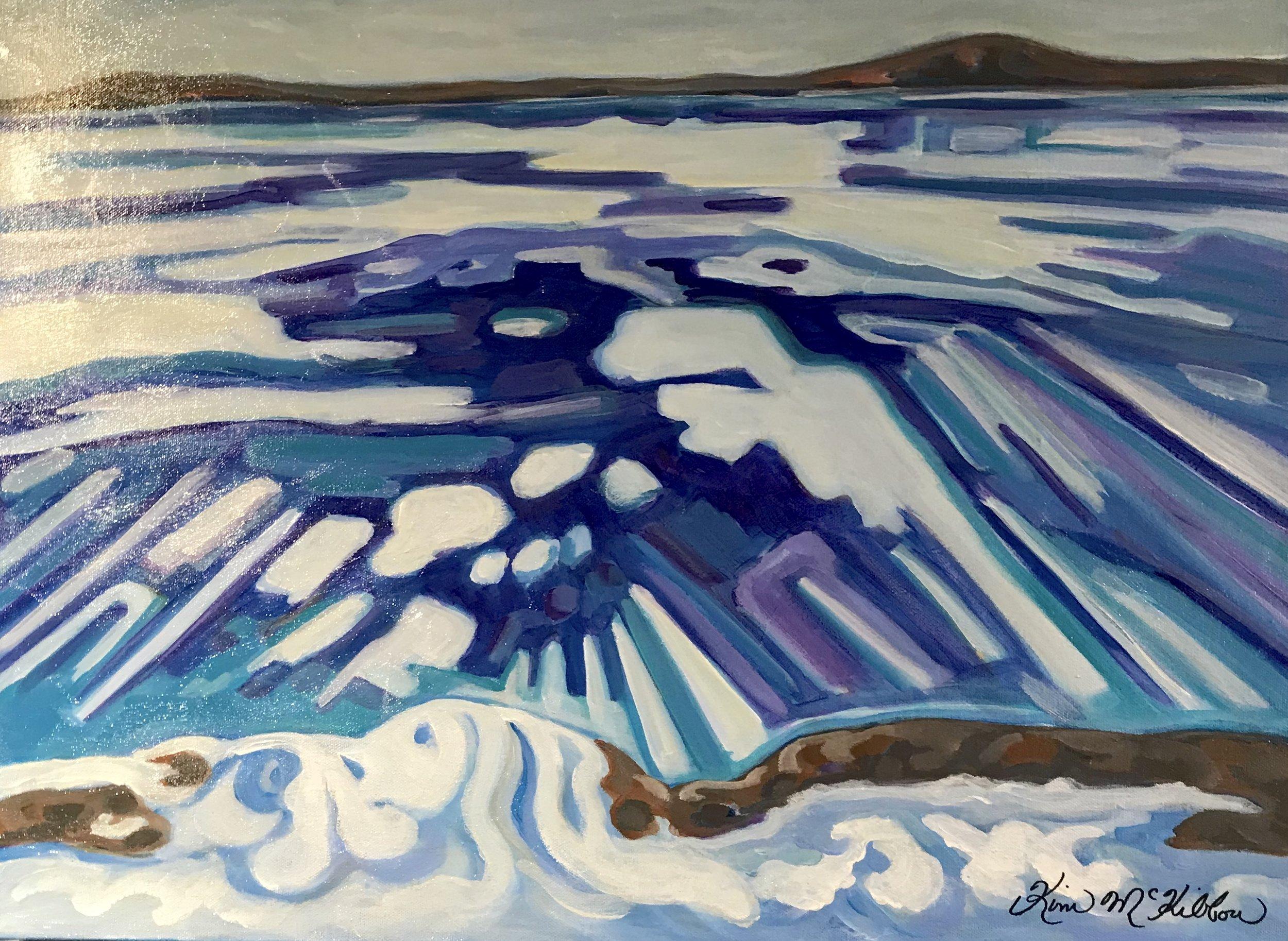 Ice Flow  1.5 x 2, Acrylic on Canvas, unframed