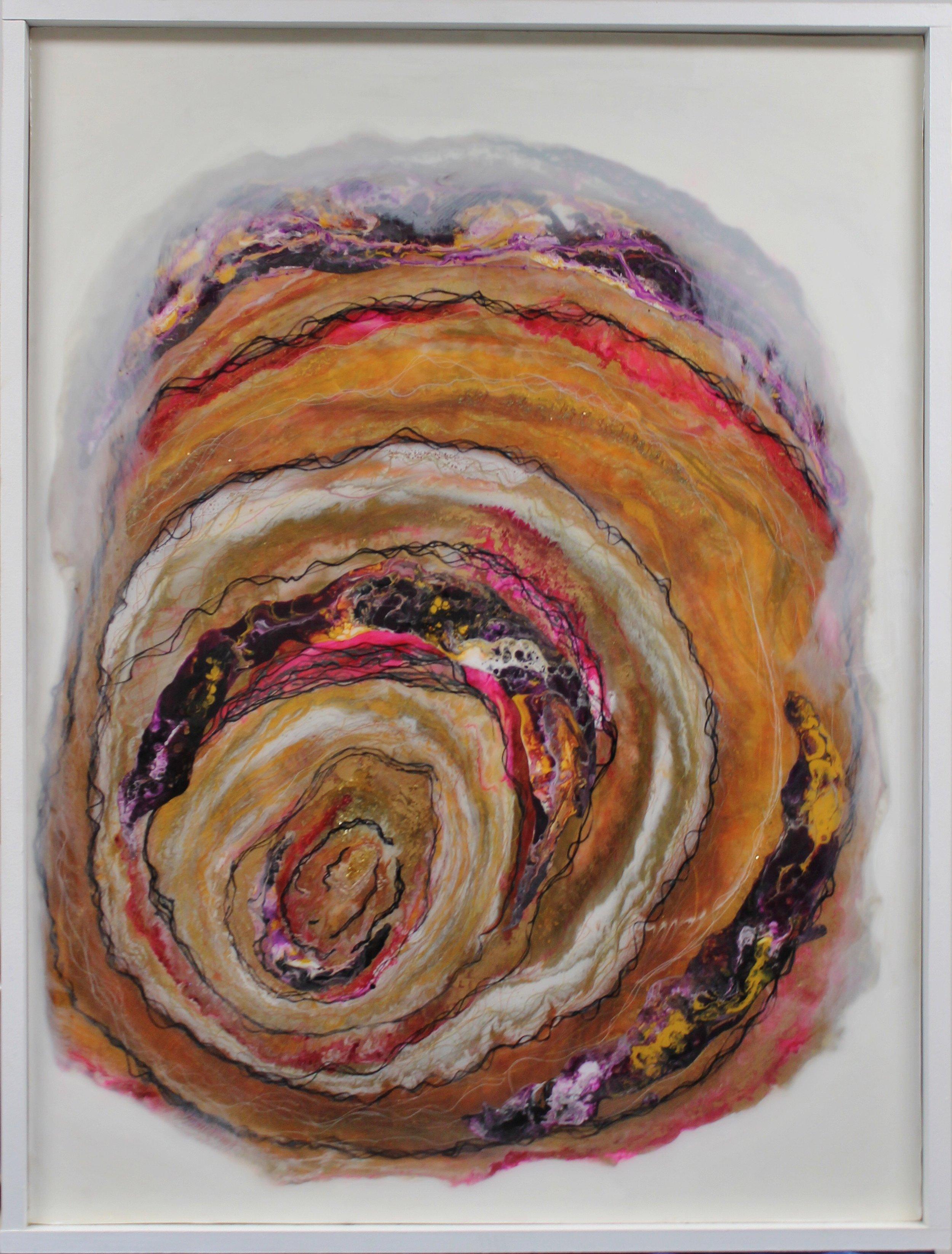 Rhythm  30x40, resin and textile on wood, framed