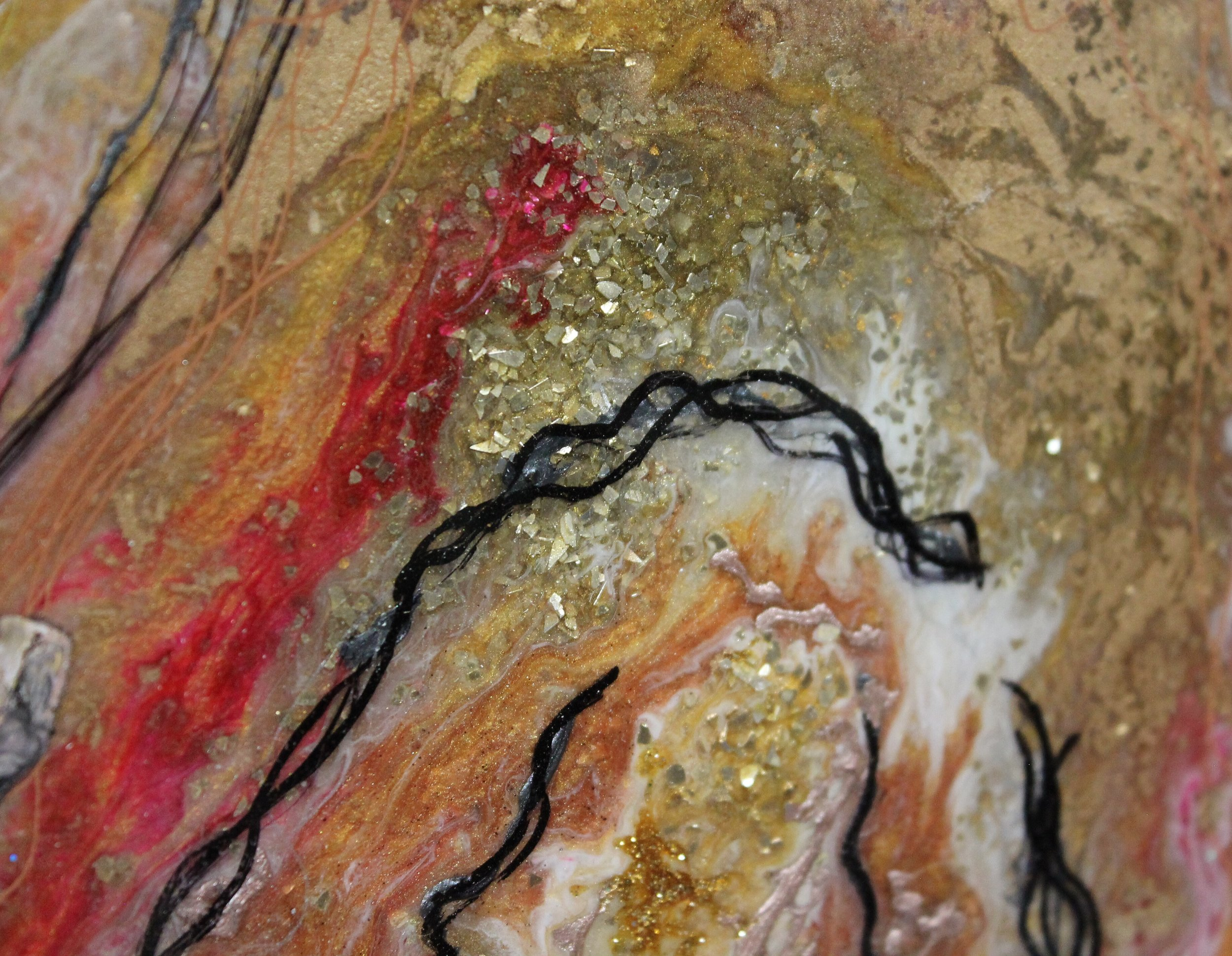 Rhythm, Detail  30x40, resin and textile on wood, framed
