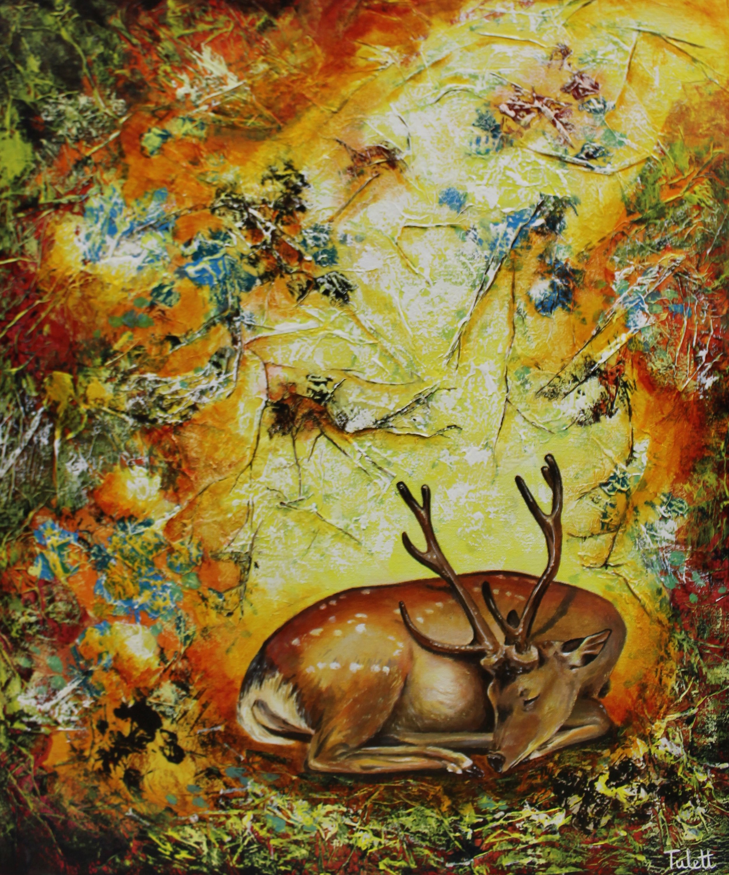 "Autumn Siesta, Mixed Media, 20x24"", unframed"