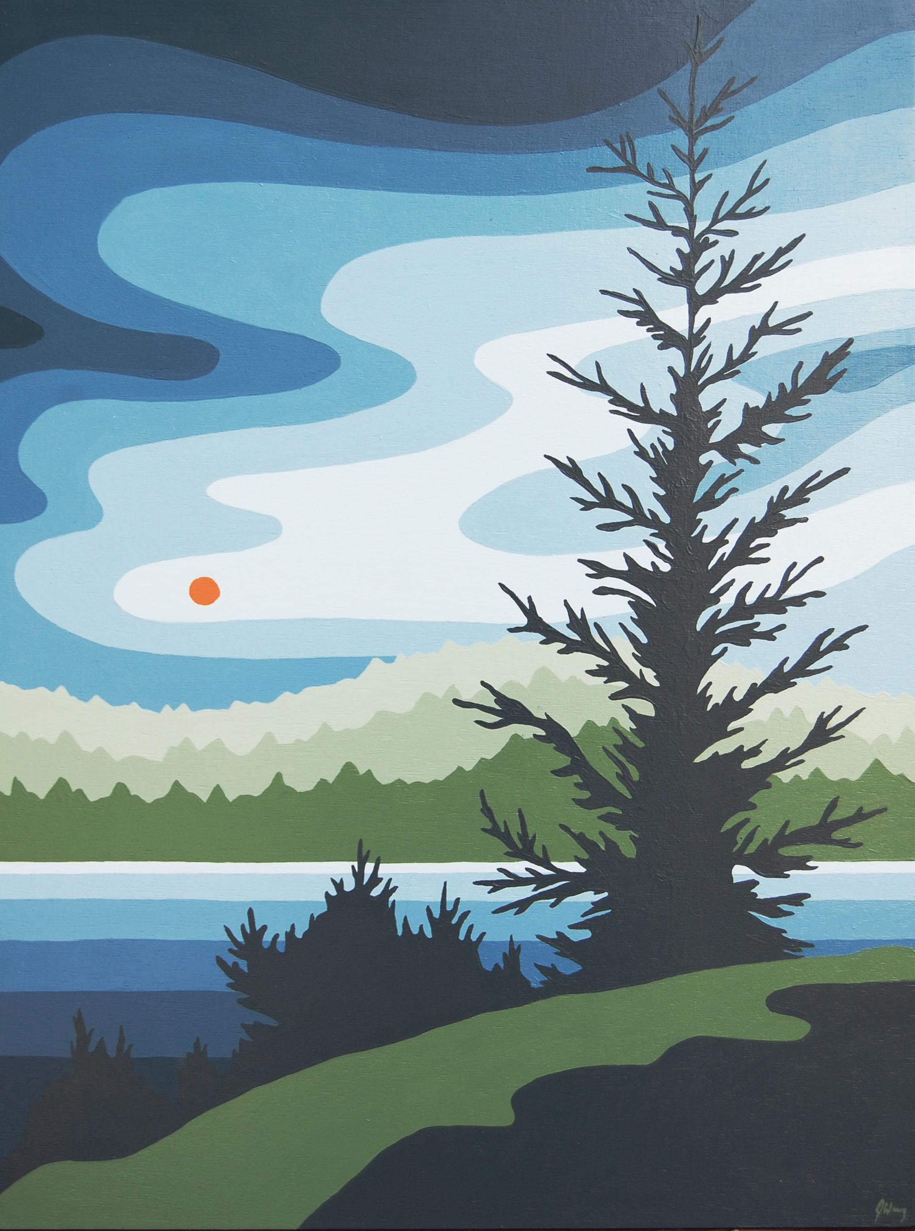 "Horne lake morning  Acrylic on Wood  18x24""  Unframed"