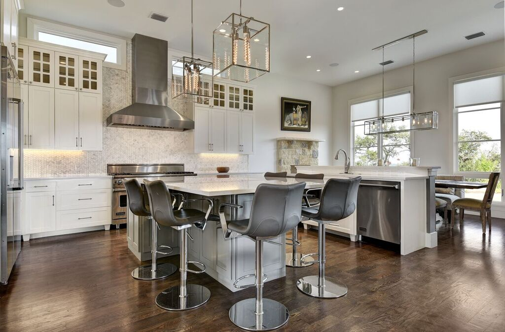 Kitchen Center Island with Gray Leather Barstools