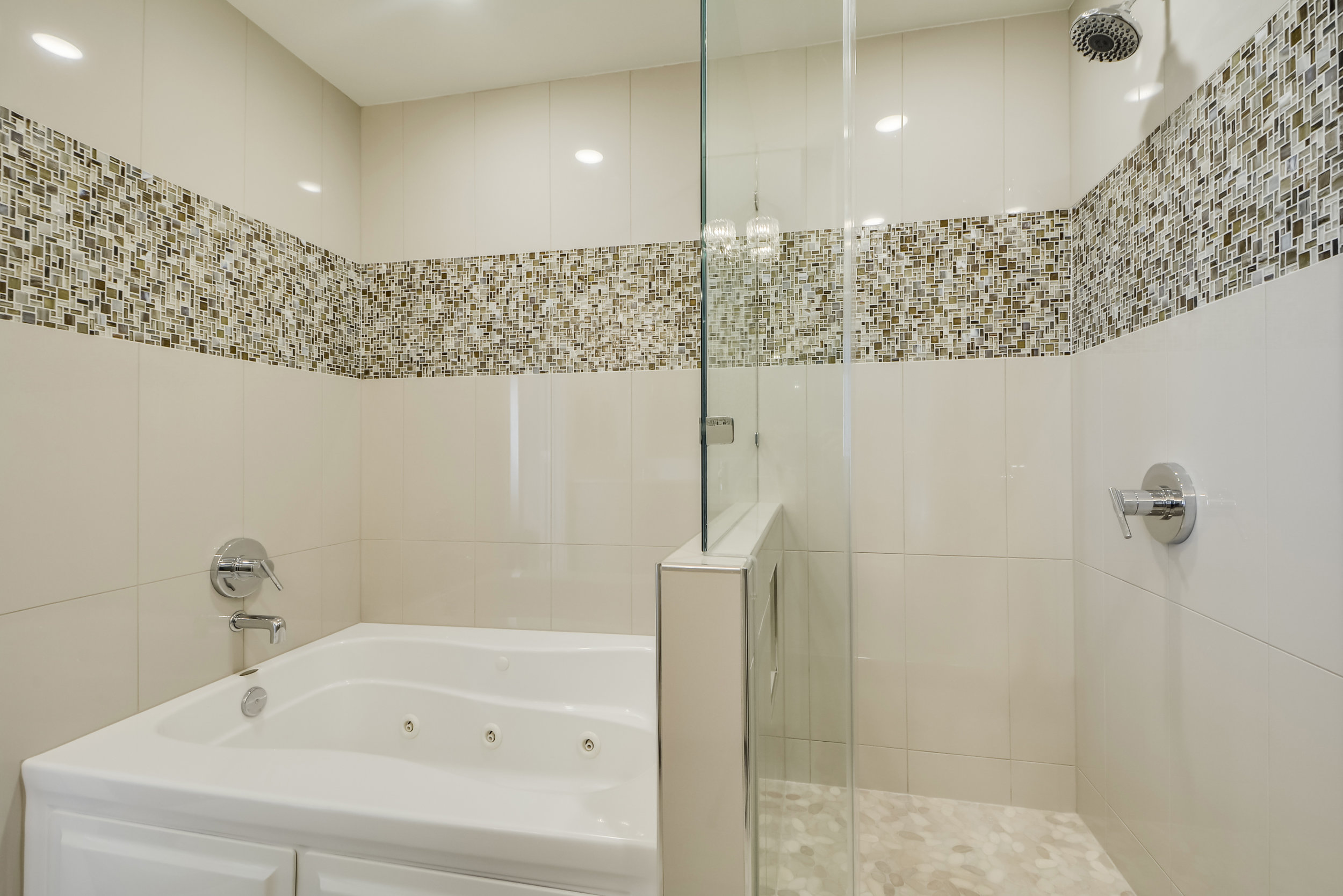 Mosaic Tile with Spa Bath and Shower Stall