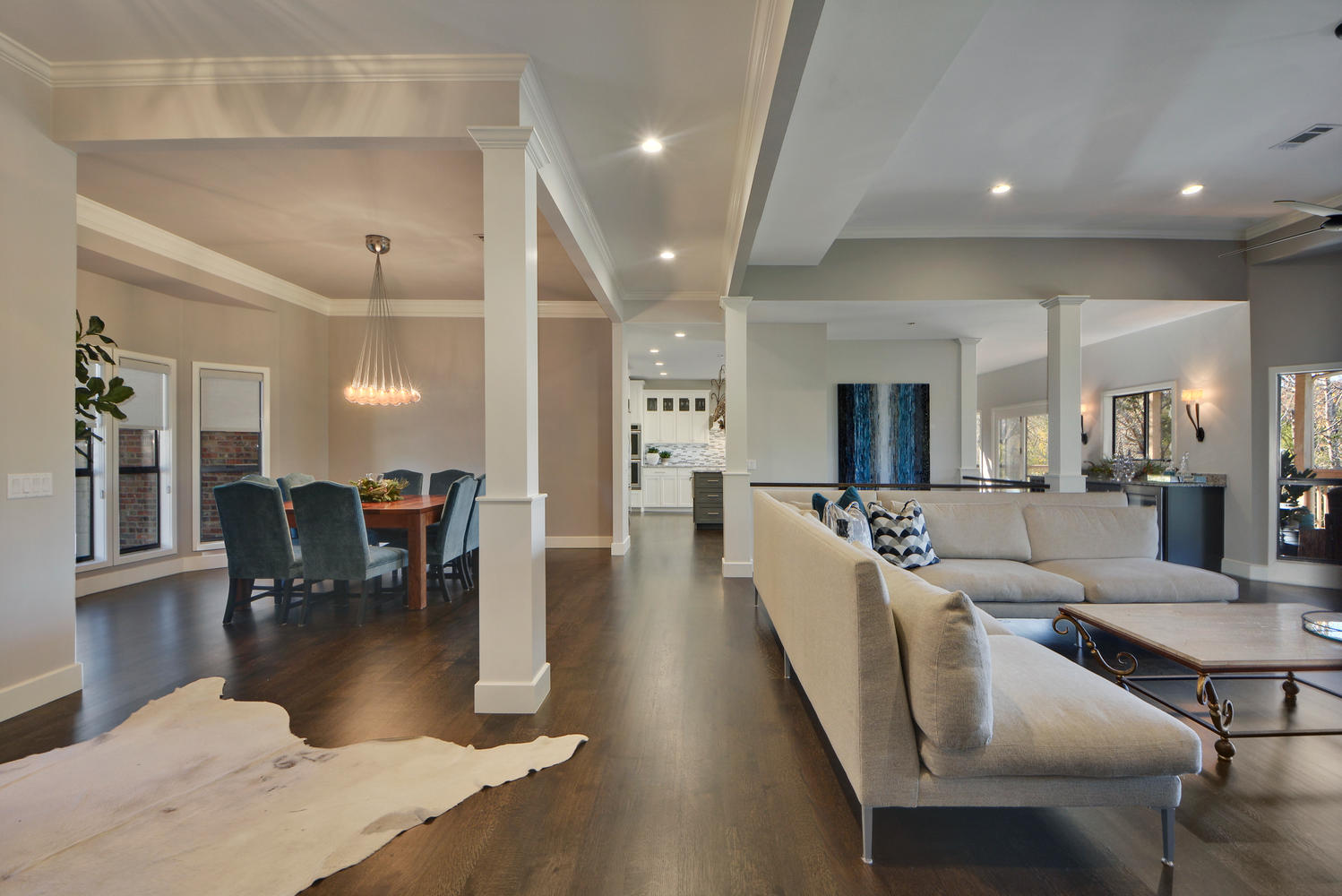 Transitional style living and dining rooms