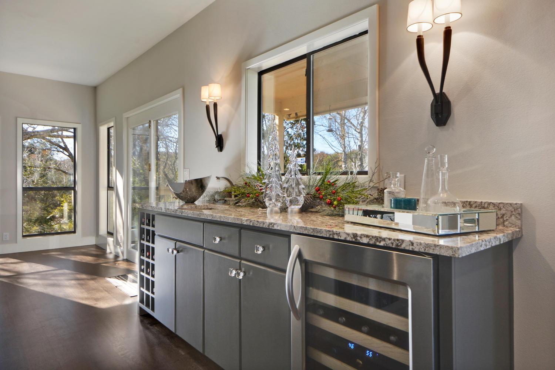 Cabinet storage with wine fridge