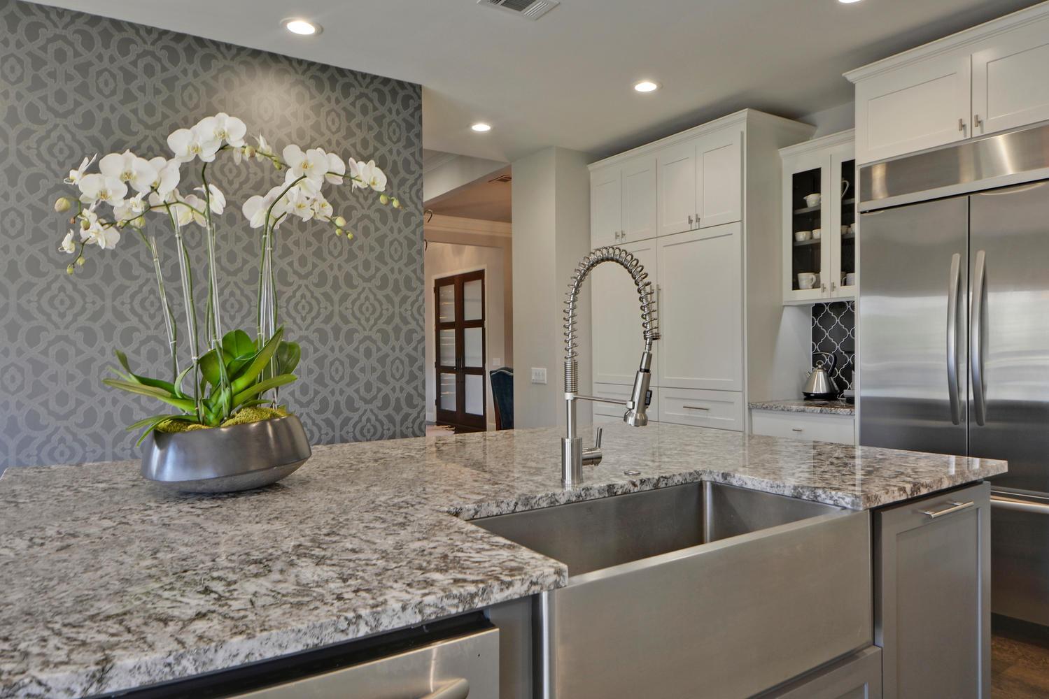 Farmhouse sink in kitchen remodel