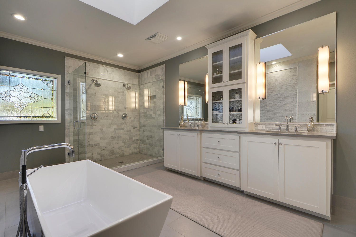 Transitional bathroom style remodel
