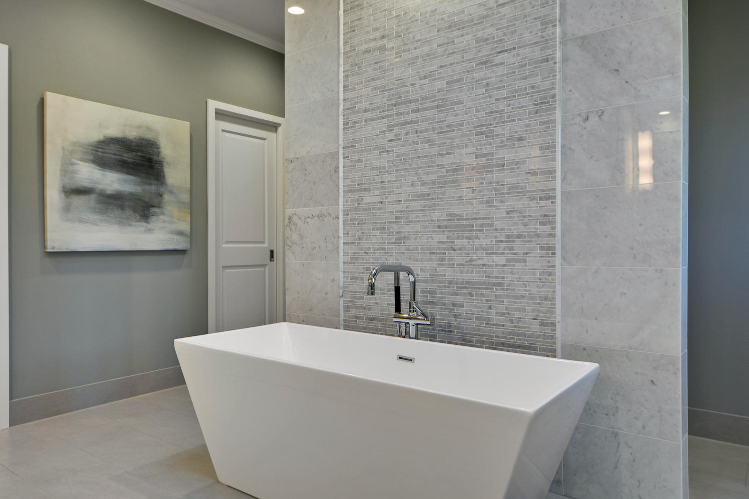 Soaking tub in Austin bathroom remodel