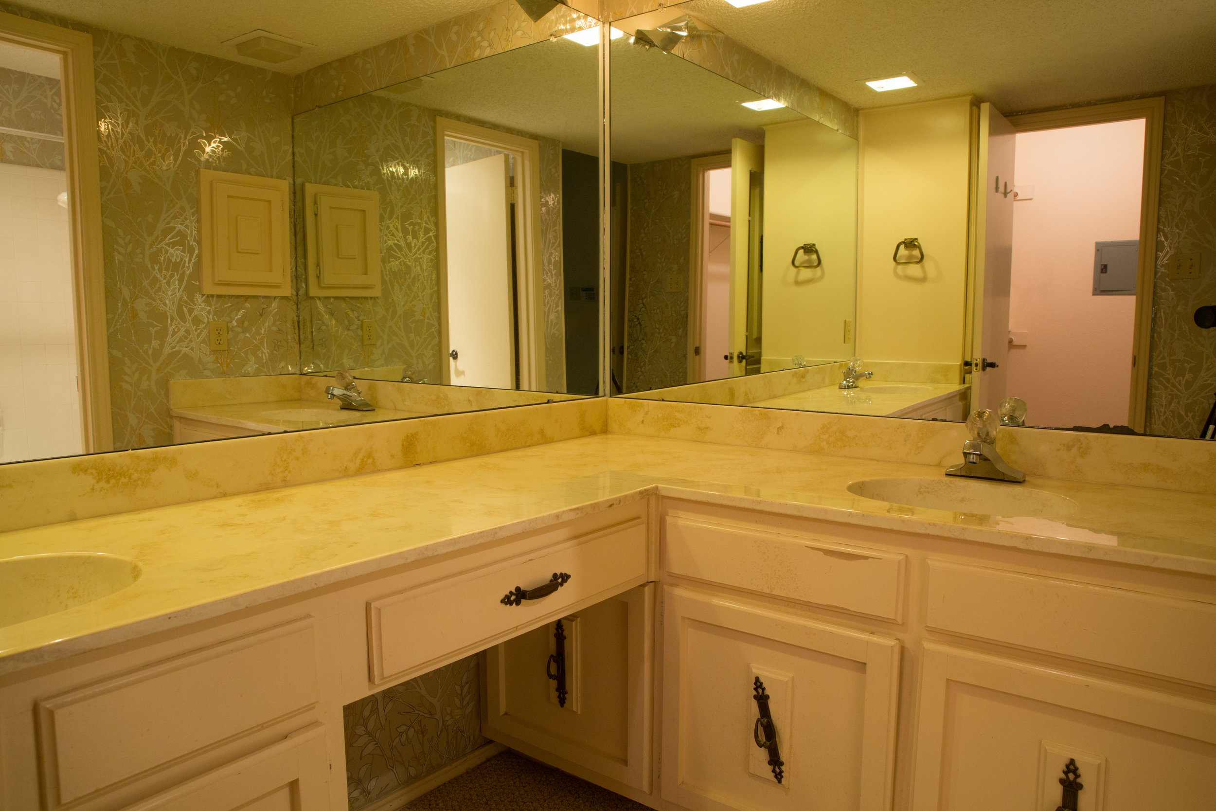 Dated master bathroom before and after complete remodel